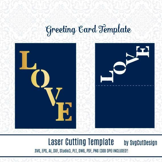 LOVE Greeting Card Laser Cut Templates Mothers Day Mum SVG Laser ...