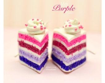 Purple Cake Earrings Miniature Food Jewelry Polymer Clay Food Handmade Gift Girl Sterling Silver