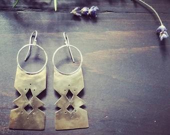 Tuareg Earrings . Bronze and Sterling Silver Modern Tribal Earrings