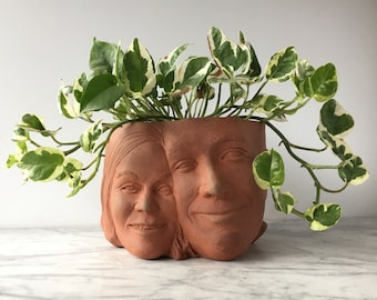 Custom Couples Portrait Sculpture Planter Lovers Art Wedding Anniversary Gift Pottery