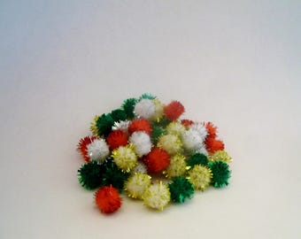 Tiny Tinsel Pom Poms - 7 mm - 50 Ct - Christmas - Miniature Holiday Decor - Decoration - Accessory - Craft Supply