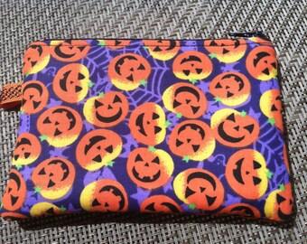 Pumpkin Jack-o-lantern Zippered Pouch