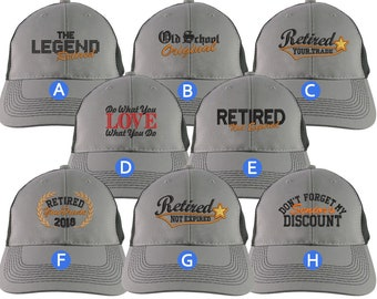 Custom Retirement Embroidery Design on a Grey on Black Full Fit Classic Adjustable Trucker Cap 8 Designs to Choose From Some Personalized