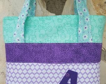 Little girls tote bag, scripture bag,  girl's purse, small tote, purple, aqua, and lavander. Scripture tote, girls LDS scripture bag.