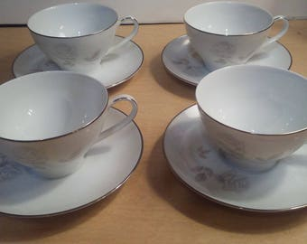 4 Sets Noritake Rosay Cups and Saucers Japan