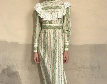 1970's Cotton Floral and Lace Maxi