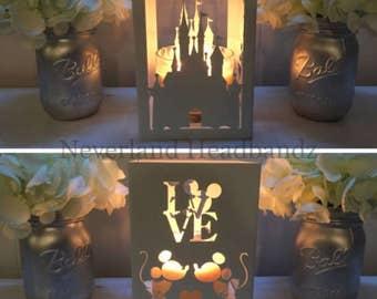 Castle and Mice metal candleholder- Lantern, Centerpiece, Home deco, utensil holder