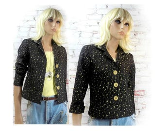 elegant jacket - black and gold jacket - dressy jacket - feminine jacket - formal jacket - 3 button jacket - fashion jacket - # 148