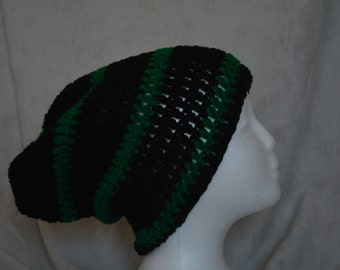 Striped crocheted slouchy beanie (black, green)