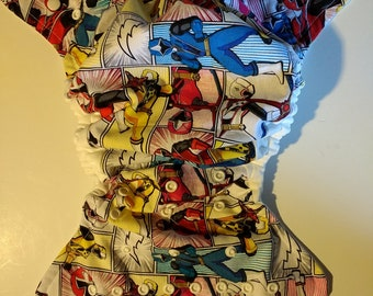 SassyCloth one size pocket diaper with power rangers cotton print. Ready to ship.