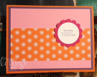 Handmade Doily Patterned Thank You Card