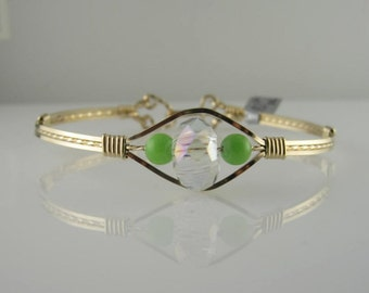 WSB-0104 Handmade Chinese Crystal and 14k Gold Filled Wire Wrapped Bangle Bracelet