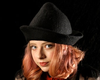 Black Witch Hat - Beauxbatons Inspired Witch Hat - Fleur Delacour Inspired Hat - Black Hat - Black Elf Hat