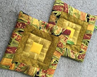 TWO quilted potholders. Gold hot pads. Handmade kitchen art. Minimalist kitchen decor. Modern home decor. Hostess gift. Trivets. Autumn.