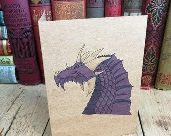 Dragon card, Birthday Card, Anniversary Card, anniversary, dragon birthday card, personalised card, purple dragon