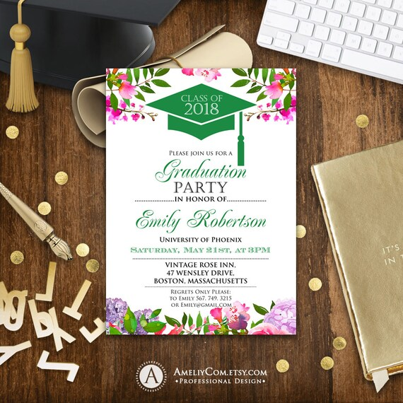 Graduation invitation printable green college graduation graduation invitation printable green college graduation party announcement template high school graduation party invitation download filmwisefo Image collections
