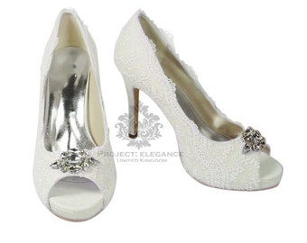 Emily - Crystal toe piece on Stunning light ivory satin & Lace Vintage Peep Toe Shoes - Any height, any colour