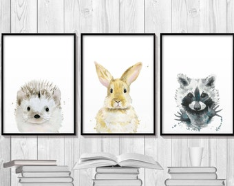 Animals Art, Art Set, Watercolor Set, Nursery Wall Art, Bunny Art, Animal Watercolor, Animal Poster, Woodlands Print, Raccoon Art, Hedgehog.