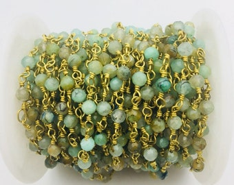 4mm faceted Chrysocolla Gold Plated Rosary Gemstone Chain. Sale by Foot