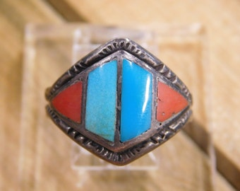 Turquoise and Coral inlay silver ring- Size 10