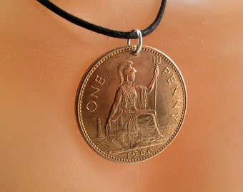 1966 Gift. UK NECKLACE  . England coin jewelry. english necklace. coin pendant. english coin. mens jewelry. boho pendant.  No. 001310