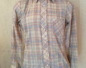1970s Plaid Shirt - Casual - Long Sleeve - Plaid - Outdoorsy - Autumn - Pointy Collar - The Dale Clothing Company - Size Medium