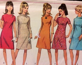 Vintage 60's  Sewing Pattern Simplicity 7199 Misses' Sheath Dress Bust 32 Complete