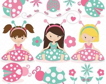 80% OFF SALE pink Ladybug clipart commercial use, ladybug vector graphics, digital clip art, digital images - CL618