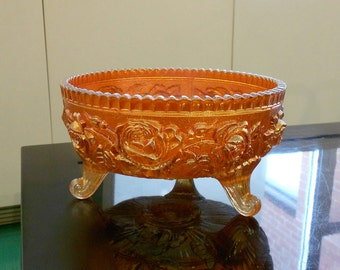 Marigold Imperial Carnival Glass Footed Bowl with Lustre Rose Pattern