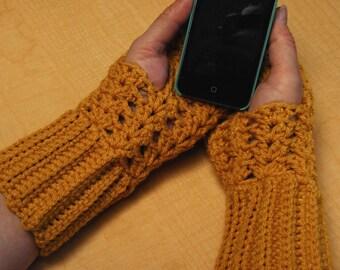 crochet fingerless glove mittens mits wrist warmer gauntlet gold wristlets lacy