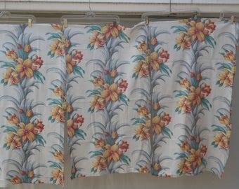 Three Panels of Vintage Drapery Barkcloth Vintage Fabric Tropical Print