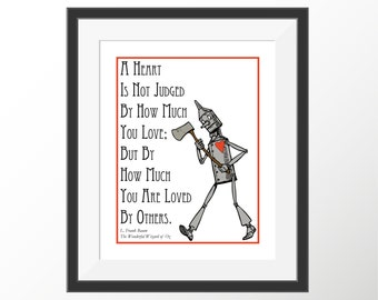 Wizard of Oz Art Tin Man Nursery Decor Art Prints Kids Room Wall Art Book Quotes Storybook Baum Literature