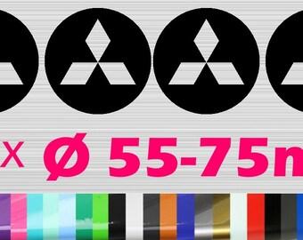 4 Mitsubishi Hub cap Rim Sticker | Alloy rims Emblem Logo Sticker | Ø 50-75 MM