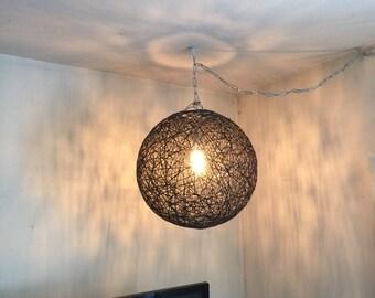 """Black sphere lamp, modern pendant lamp, design light, pendant light, design lamp, shadow lamp, modern pendant light, globe light. 50cm-20"""""""