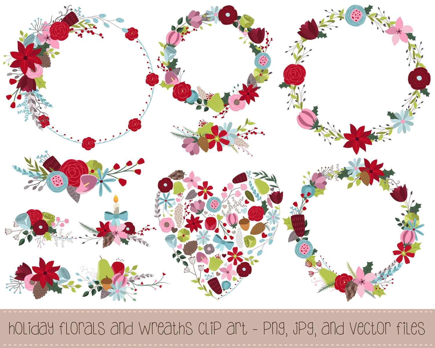 Winter Florals and Holiday Wreaths Clipart 11 Hand Drawn
