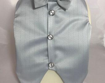 Prince Charming silvery blue vest with tiny silver pinstripe, custom Wedding vest, bestman, groomsman,elegant fancy vest/tuxedo top, Prom