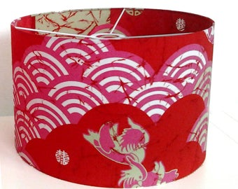 LAMPSHADE PATTERN JAPANESE RED FABRIC
