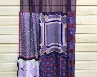 PLUM PURPLE: upcycled silk scarf shower curtain, boho, gypsy, hippie decor