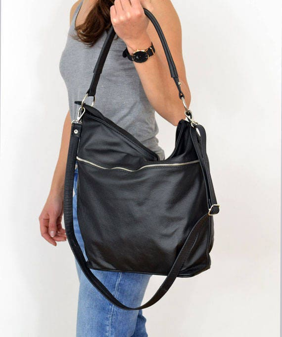d8d4d1120a6a New Q Hillier Black Leather Hobo Bag