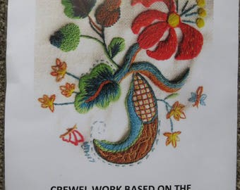 Crewel Work Floral Design  Embroidery kit