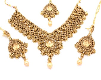 Antique Gold Indian Bollywood Choker Necklace Set with Earrings, Tikka Headpiece Jhoomer Bridal Wedding