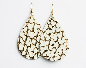 White + Gold Leather Earrings, Leather Teardrop, Genuine Leather, Leather Teardrop, Trendy Earrings, Lightweight Earrings- GOLD SPECKLED