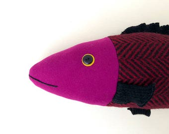 Bright Magenta and Black wool fish pillow doll cabin ocean decor