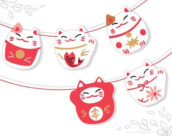 DIY Printable Lucky Cat Garland, PDF Digital Download for Maneki Neko Party Decorations, Finger Puppets and more