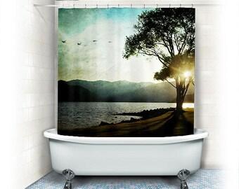 "Landscape Fabric Shower Curtain ""Casting shadows"" bathroom,lake,beach,mountains,aqua home decor,blue,trees,sunset,nature,bath"
