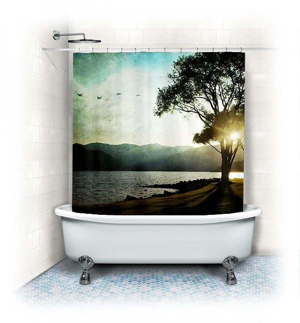 Landscape Fabric Shower Curtain Casting shadows