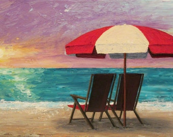 Beach at Sunset Painting Original Acrylic palette knife painting on Canvas