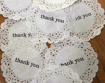 Thank You Hand Stamped Paper Doilies - Drink Coasters - Weddings , Engagements - Events