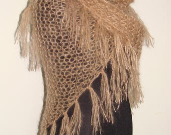 Camel/flesh colored mohair hand knitted shawl