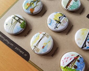 Portland Bridges One Inch Pinback Buttons Gift Set Pack of Twelve